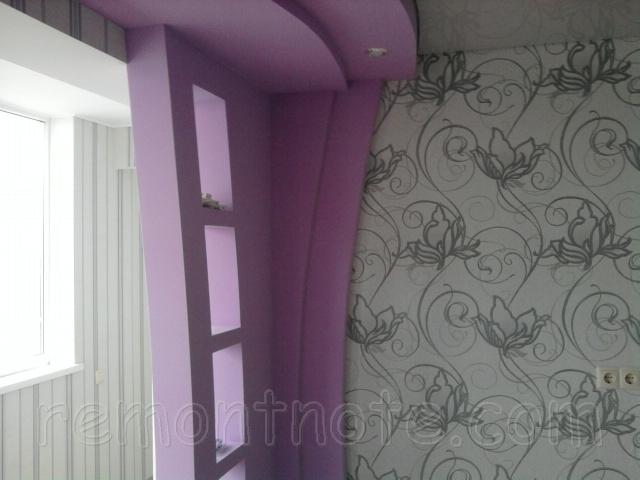 Полки и ниши из гипсокартона, совмещенные с многоуровневым потолком фото